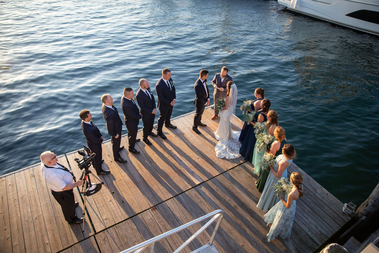Nicole + Greg   BOUQUETS + BOUTONNIERES Angelic Affairs  COORDINATION Kelly Elizabeth Events  VENUE The Landing @ Newport, RI   THEME Airy Greens by the Ocean  COLOR SCHEME Navy blue, dusty blue, mint green, sage green, white