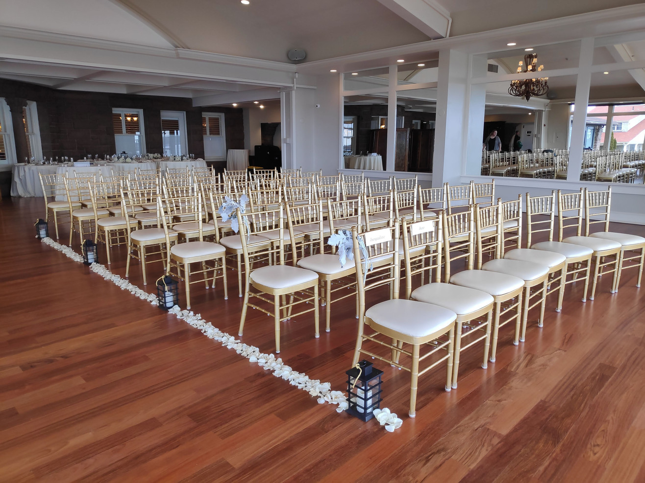 Aisle Decor:  Lanterns + Rose Petals + Gold Rope + Aisle Chair Decor