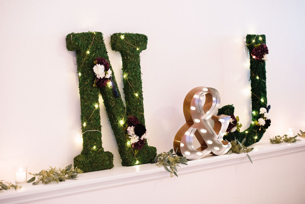 Lit-up + Decorated Moss Monogram Wall Decor