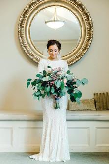 Annalee + Kyle   BRIDAL BOUQUET Angelic Affairs  PHOTO Danyel Stapleton Photography  VENUE Tirrell Room @ Quincy, MA   THEME Celestial Twilight  COLOR SCHEME White, green, blush pink, navy blue, gold