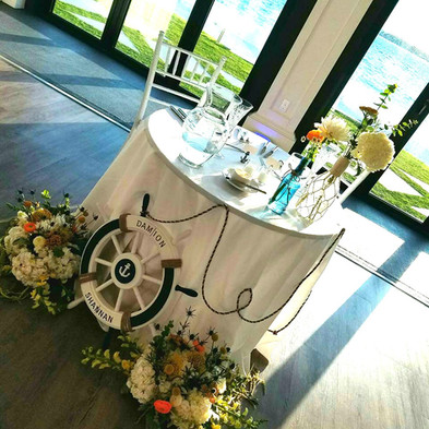 Shannan + Damion   SWEETHEART TABLE + PHOTO Angelic Affairs  VENUE Belle Mer @ Newport, RI   THEME Offbeat Vintage Nautical  COLOR SCHEME White, navy blue, yellow, green