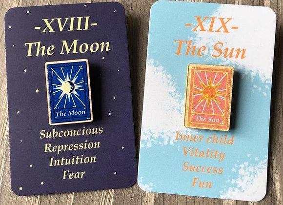 Sun & Moon Tarot Card Wooden Pins