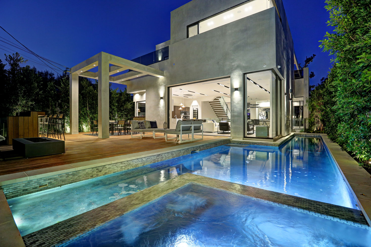 Modern Pool & Spa in Cubistic Home