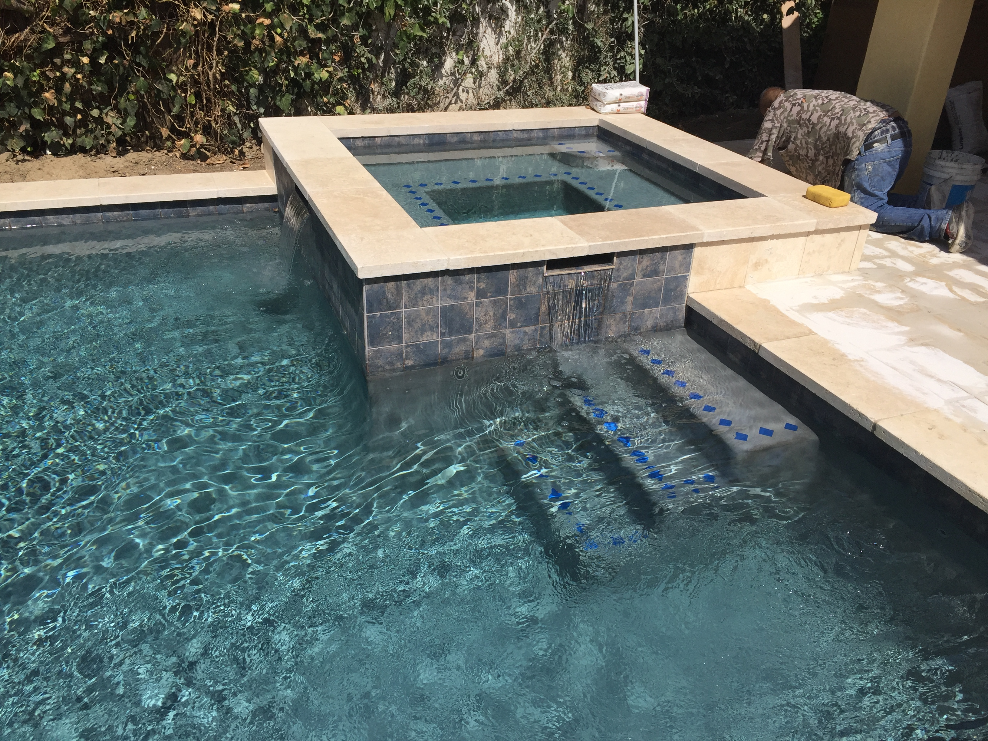 Pebbled Pool with Raised Spa