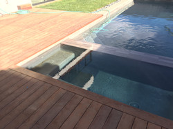 New pool and spa tiled feature and surrond deck