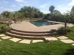 Pool & Spa with Fountains & Pavers