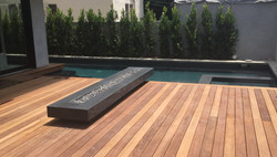 Modern Pool with Outdoor Fireplace Feature
