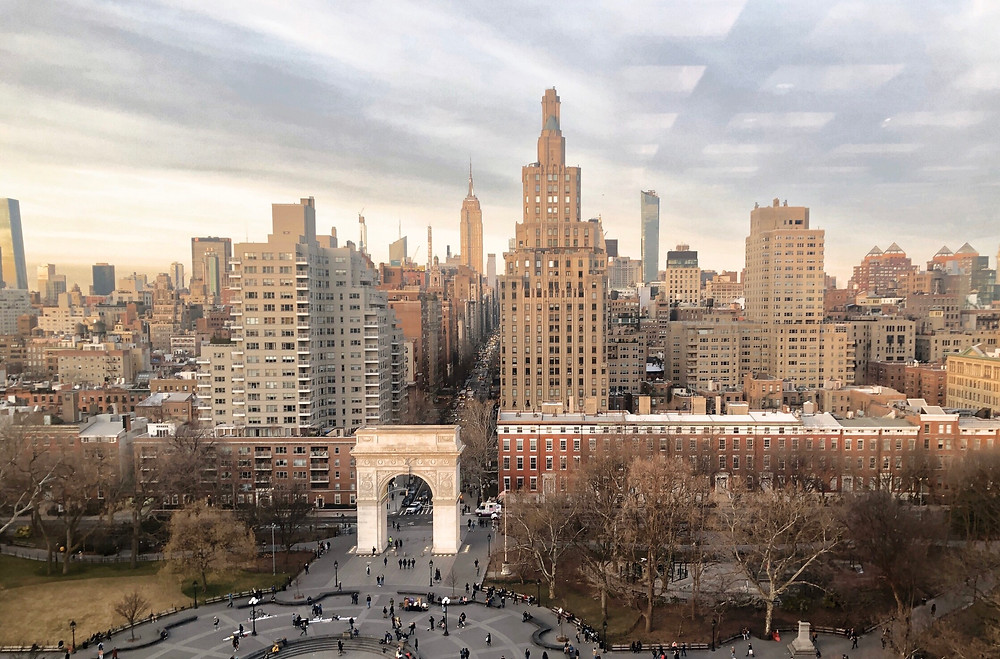 Gorgeous View of Washington Square Park in the Village in NYC (looking north up Manhattan)