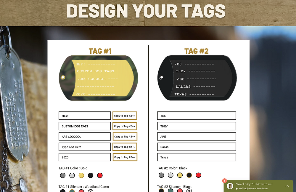 Custom Military Dog Tags Online Ordering at Army Navy Warehouse