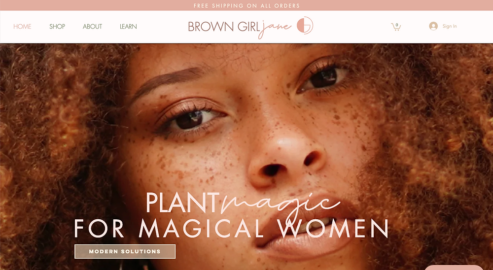 Brown Girl Jane - example of a Wix ECommerce Website Design