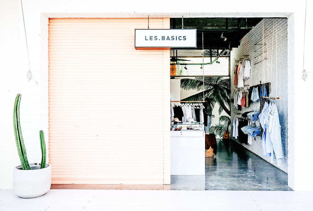 A great website has inspired curb appeal - photo of a cute clothing shop called Les Basics