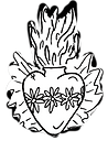Flaming Heart black and white illustration