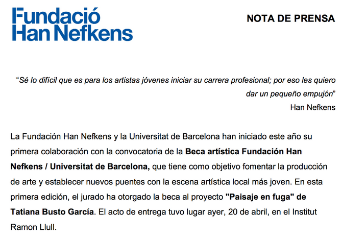 Beca de la Fundació Han Nefkens
