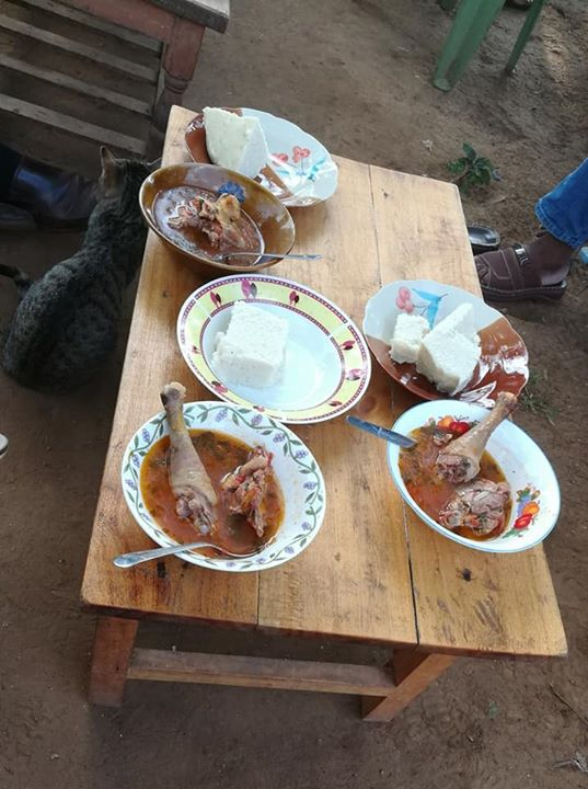 Ugali and tough old chicken