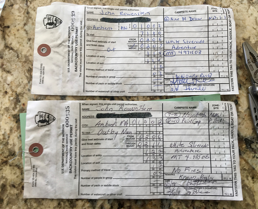 Backcountry camp permits, Big Bend National Park