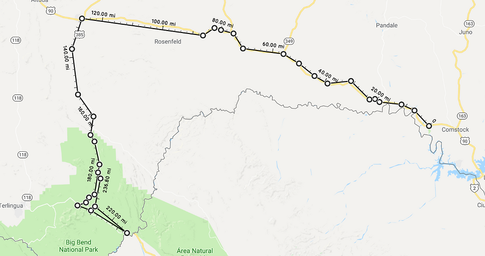 Route from Comstock Tx, to Big Bend National Park