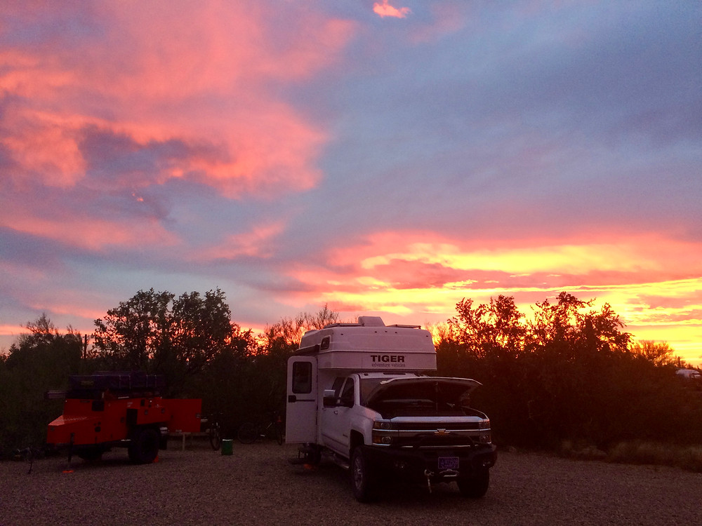 Sunset at Gilbert Ray Campground in Tucson, AZ.