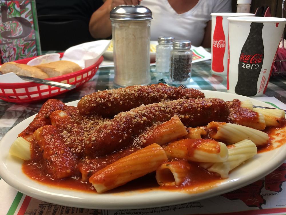 Rigitoni, with sauce and sausage!