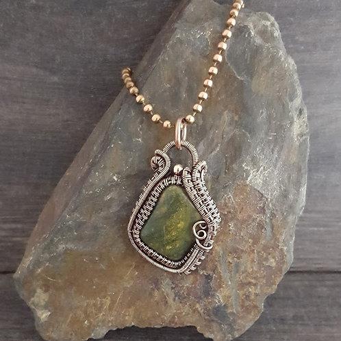 Wire Woven Green Stone Pendant