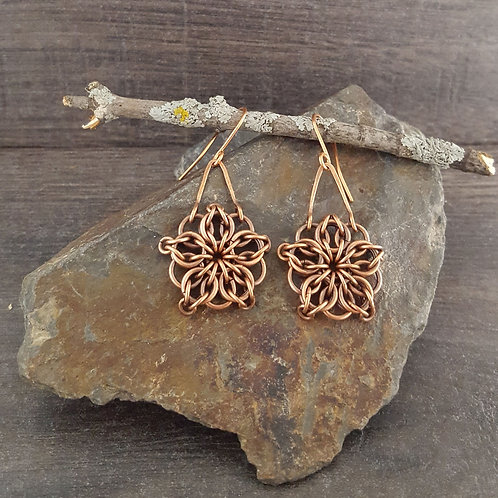 Celtic Star chainmaille design earrings made from copper wire.