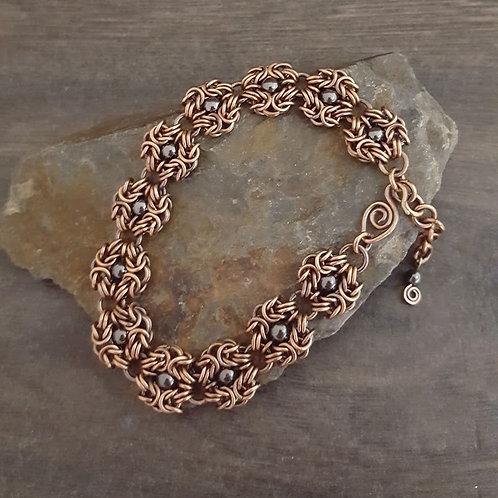 Hematite Romanov Chainmaille Bracelet