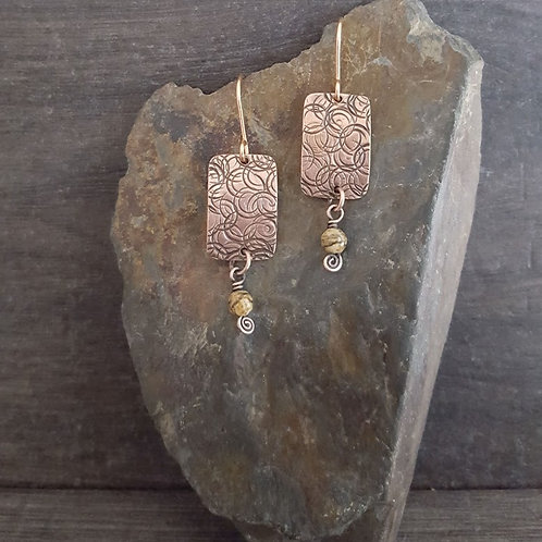 Stamped Rectangle and Jasper Earrings