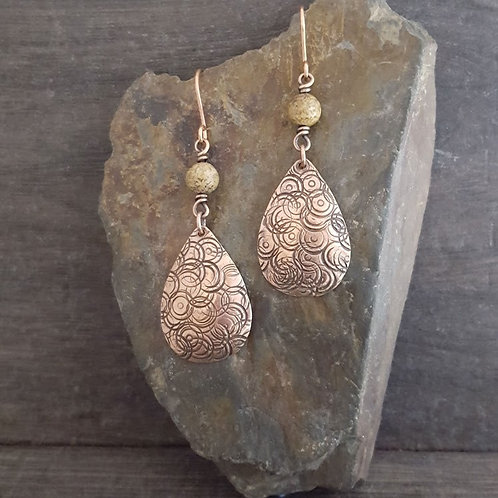Textured Teardrop and Jasper Earrings