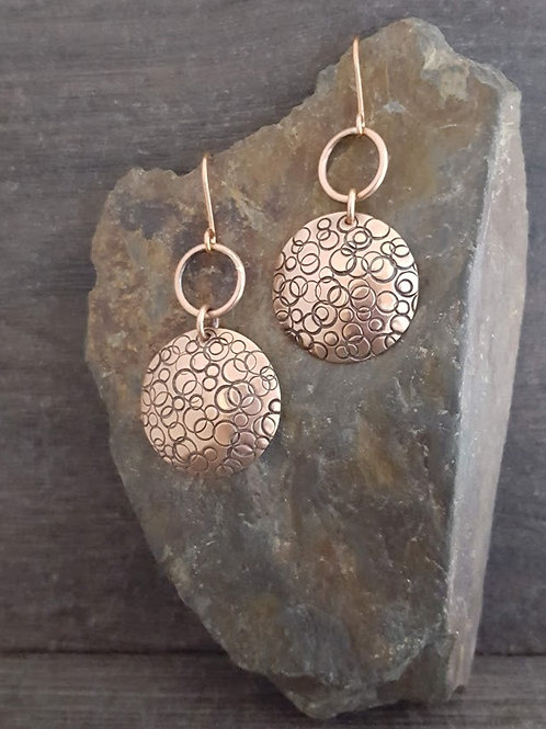 Stamped Circle and Ring Earrings