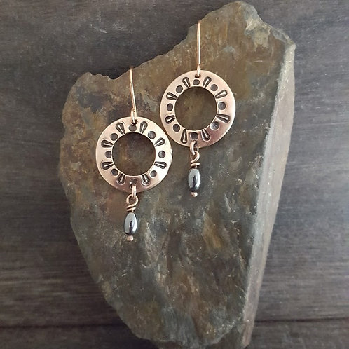 Stamped Circle and Hematite Earrings