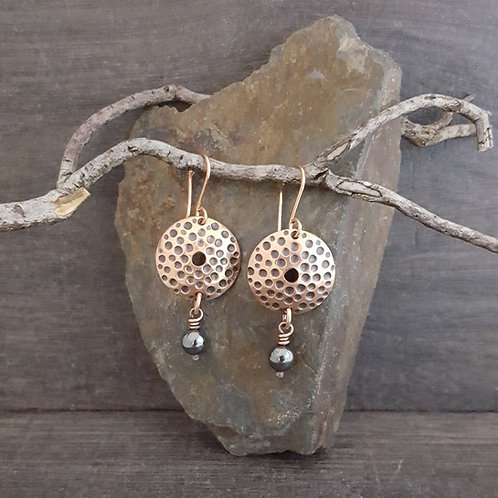 Textured Circle and Hematite Earrings