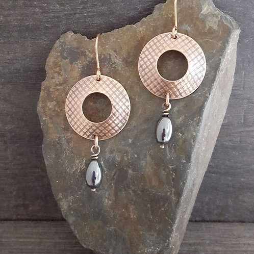 Patterened Circle and Hematite Earrings