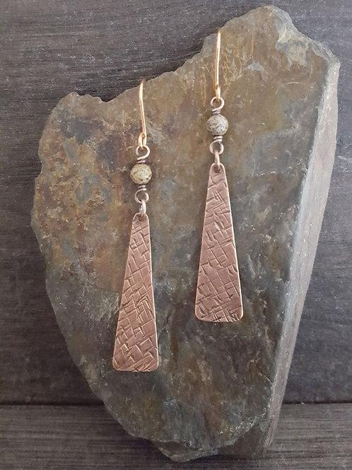 Textured Triangular and Jasper Earrings