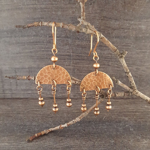 "Textured ""jellyfish"" shaped copper earrings with dangling copper beads."