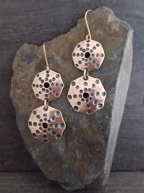 Double Octagon Stamped Earrings