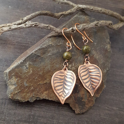 Copper leaf shaped earrings with unakite beads.
