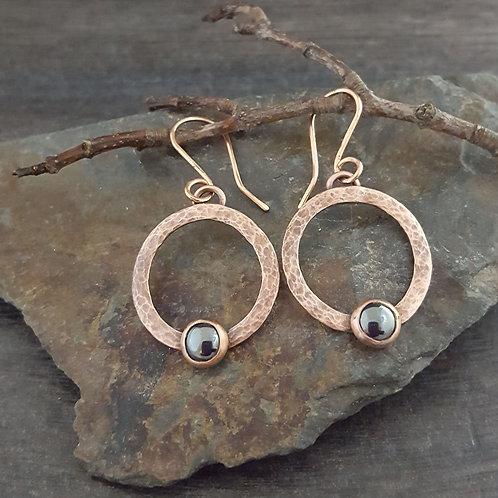 Circle and Hematite Earrings