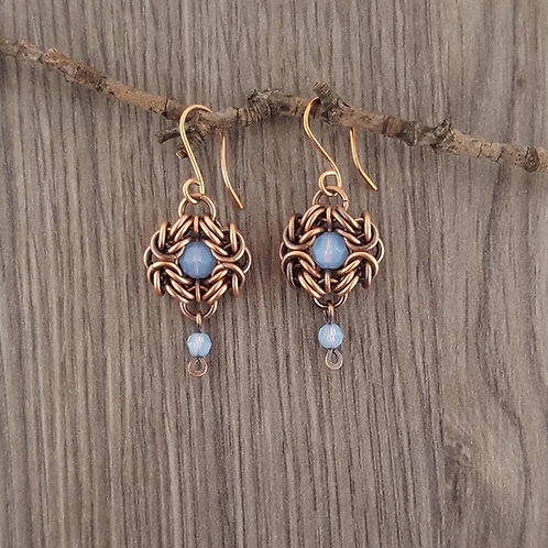 """Romanov"" Chainmaille copper earrings with blue Swarovski crystals."