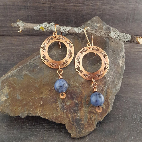 Open ring with stamped design copper earrings with sodalite beads.