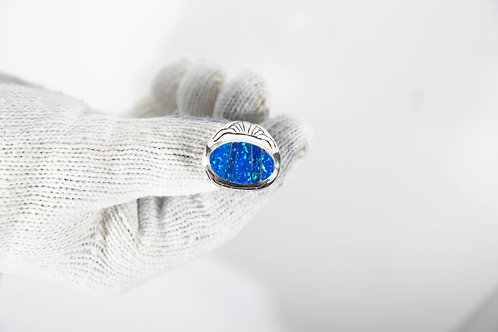 Blue Sapphire Opal Ring