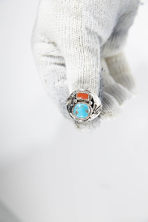 Leaf Turquoise and Coral Ring