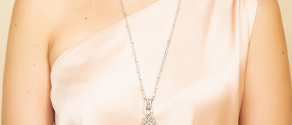 Rock Crystal Pendant Lamp Lariat in 18kt Gold and Diamonds