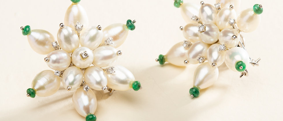 Chand Moon Burst Earrings in 18kt Gold with Pearls, Emeralds and Diamonds