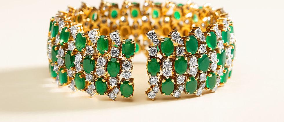Emerald Spring Bracelet with Diamonds