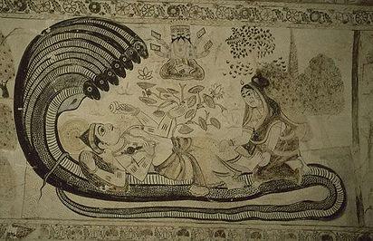 Vishnu_reclining_on_Shesha,_as_Brahma_is