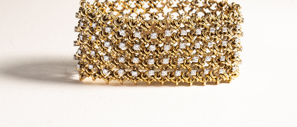 Diamond Jaali Bracelet in 18kt Gold and Diamonds
