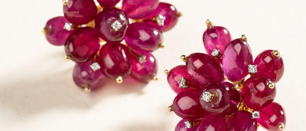 Sūrya Sun Flower Earrings II in 18kt Gold with Rubies and Diamonds