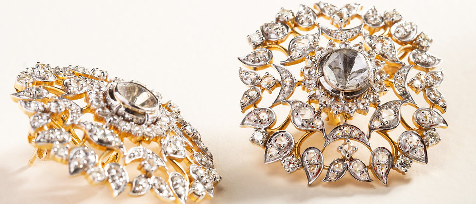 Mogul Earrings 18kt Gold with Brilliant, Rosecut, and Uncut Diamonds