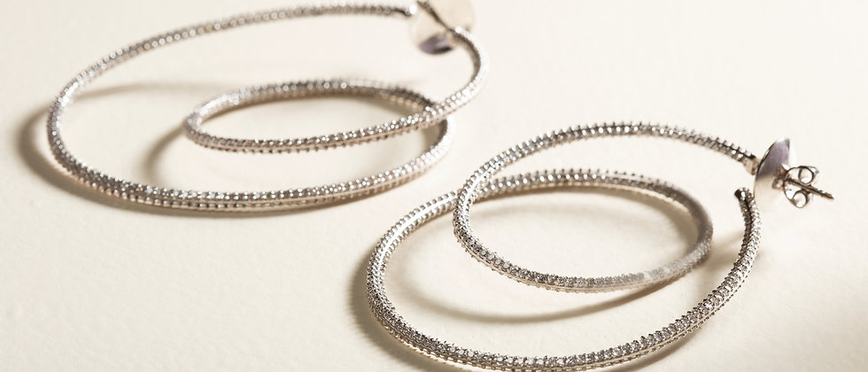 Cosmic Dance Double Hoops in Black and White Diamonds