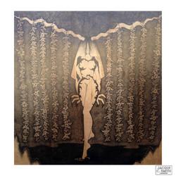 """Horned Goddess 48""""x48"""" Wood Illustration 2018"""