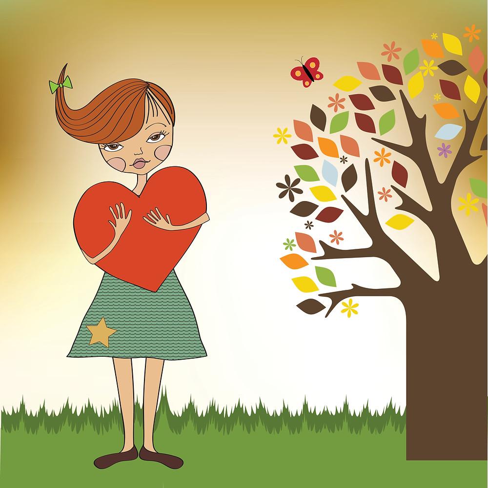 Girl Holding her Heart
